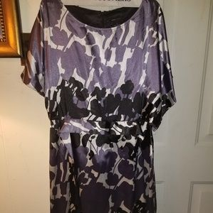 Purple floral silk dress